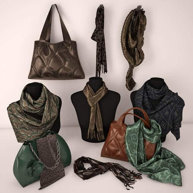 Palantin and Bags 3D model 1
