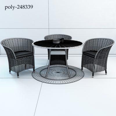 Patio Wicker Table & Chair 3D Model