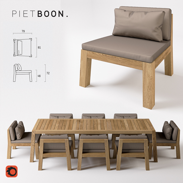 Piet Boon - Niek and Anne Table & Chair 3D Model