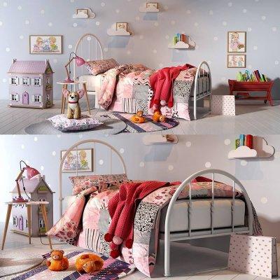 Pink girl bed 3D model (1)
