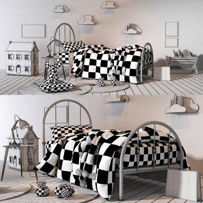 Pink girl bed 3D model (2)