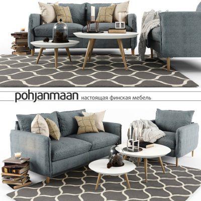 Pohjanmaan Sofa & Decor Set 3D Model