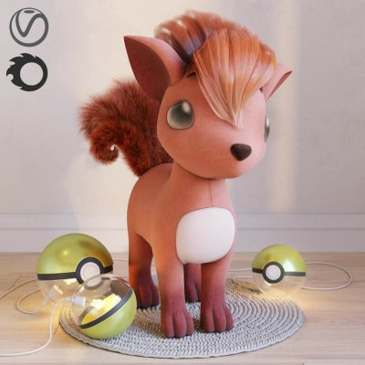 Pokemon Vulpix 3D model 2