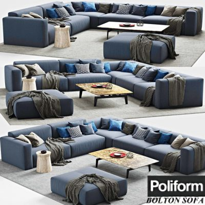 Poliform Bolton Corner Sofa 3D Model