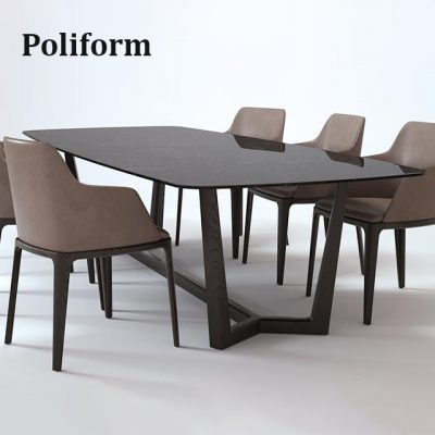 Poliform Concorde Grace Table & Chair 3D Model