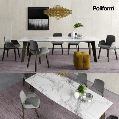 Poliform Howard & Ventura Table & Chair 3D Model