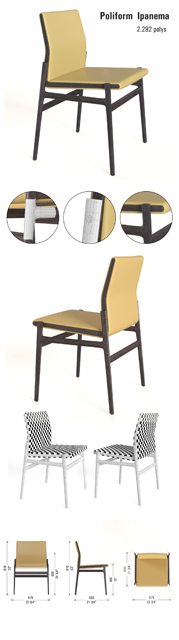 Poliform Ipanema Chair 3D Model 3
