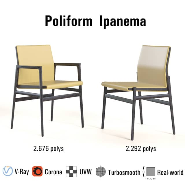 Poliform Ipanema Chair 3D Model