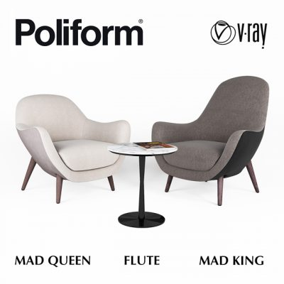 Poliform MadKing & MadQueen Armchair 3D Model