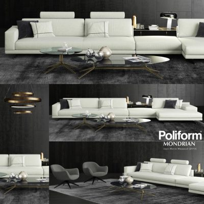 Poliform Mondrian Sofa Set-02 3D Model
