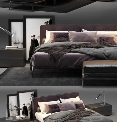 Poliform Park Uno Bed 3D Model