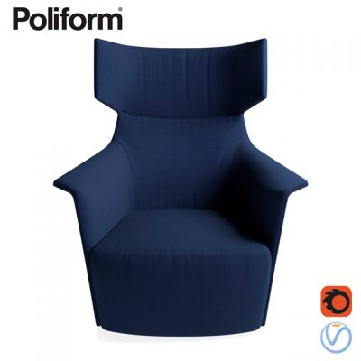 Poliform Santa Monica Home Armchair 3D Model