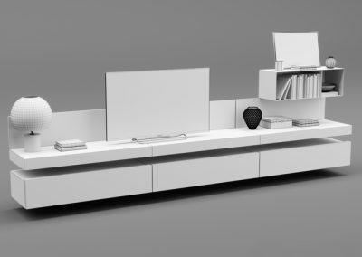 Poliform Sintesi Tv Unit 3D Model (3)