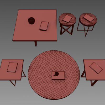 Poliform Yard Table Set 3D Model