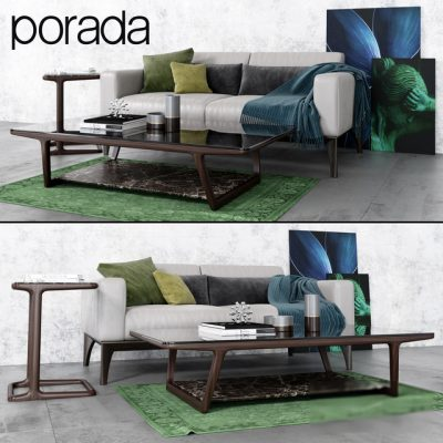 Porada Sofa & Table Set 3D Model