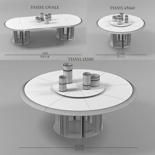 Porada Thayl Table Set 3D Model 2