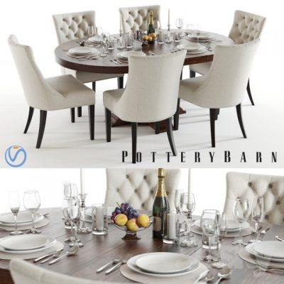 Pottery Barn Banks and Hayes Table & Chair 3D Model