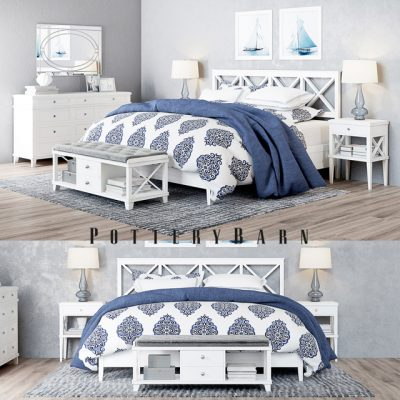 Pottery Barn Clara Lattice Bed 3D Model