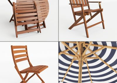 Pottery Barn Outdoor Table & Chair 3D Model 2