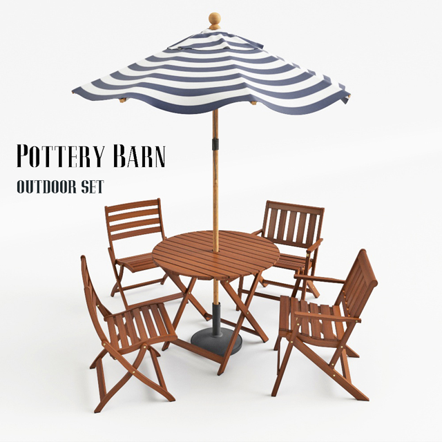 Pottery Barn Outdoor Table & Chair 3D Model