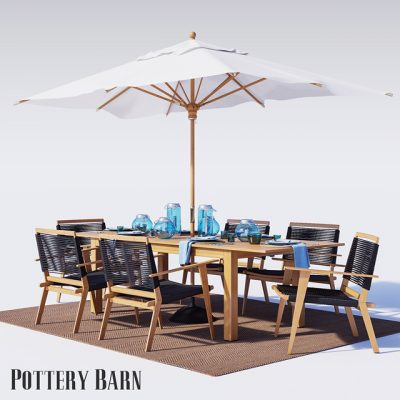 Pottery Barn Palmer Rope Outdoor Furniture 3D Model