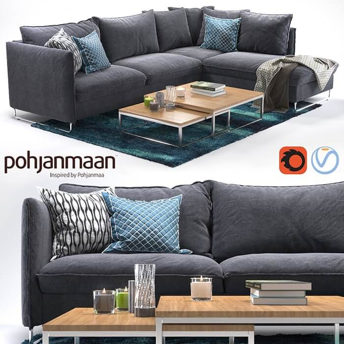 Pohjanmaan Flippep Sofa 3D Model 1