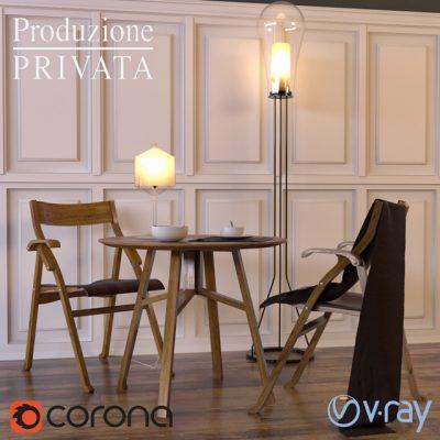 Produzione Privata Sedia 2007 & Benedetto Table & Chair 3D Model