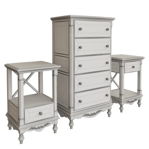 Provence Furniture Chest & Wardrobe 3D Model 2