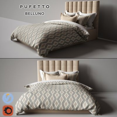 Pufetto Belluno Bed 3D Model