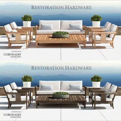 RH Coronado Collection Table & Chair 3D Model