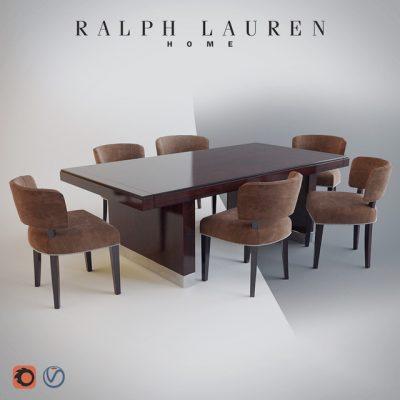 Ralph Lauren Home Cliff Dining Table & Chair 3D Model