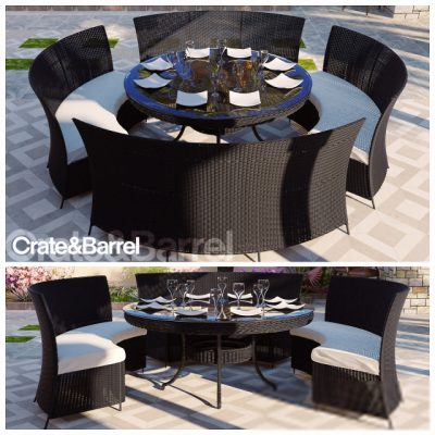 Rattan Dining Table & Chair 3D Model