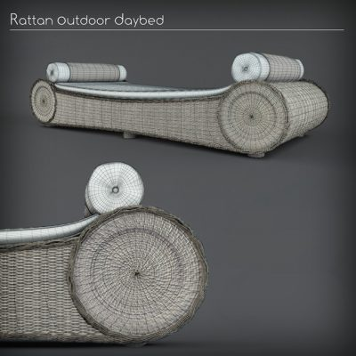 Rattan Outdoor Daybed 3D Model 2