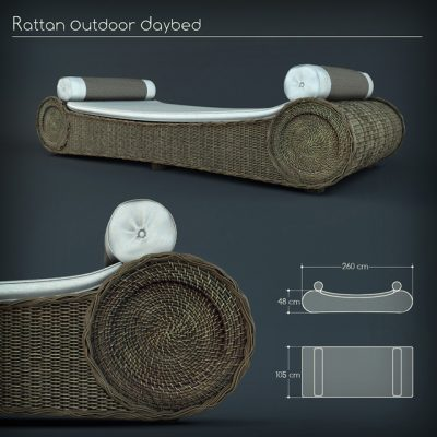 Rattan Outdoor Daybed 3D Model