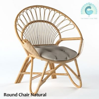 Rattan Round Natural Chair 3D Model