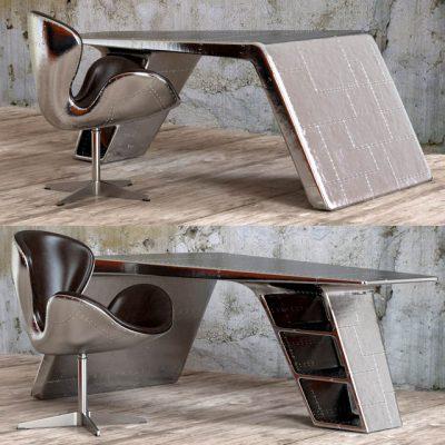 Restoration Hardware Aviator Desk & Chair 3D Model