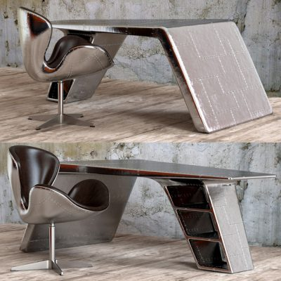 Restoration Hardware Aviator Table & Chair 3D Model