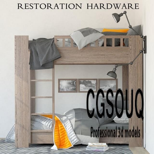 Restoration Hardware Callum Bunk Bed 3d Model