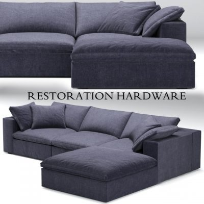 Restoration Hardware Cloud Blue Sofa 3D Model
