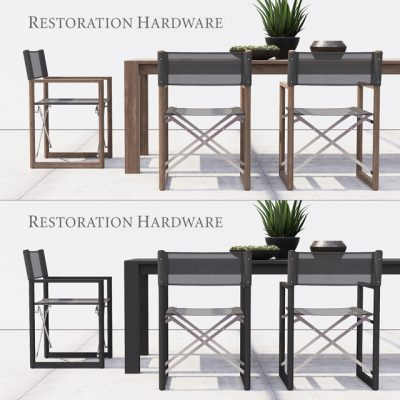 Restoration Hardware Director's Collection Table & Chair 3D Model