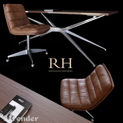 Restoration Hardware Griffith And Maslow Table & Chair 3D Model