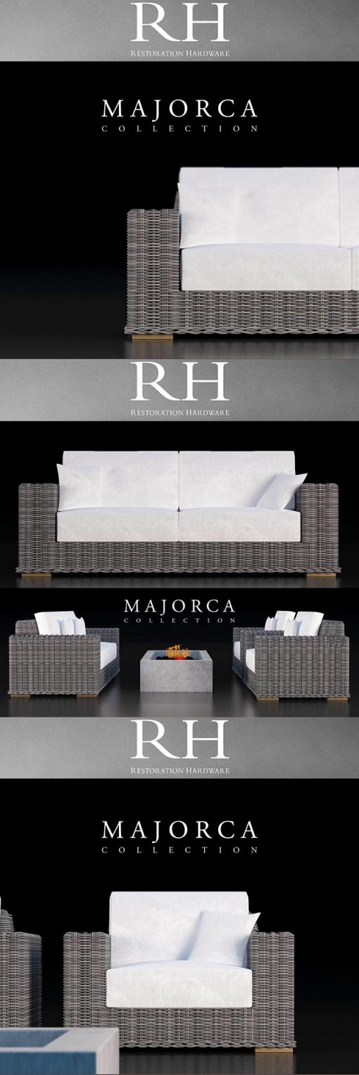 Restoration Hardware Majorca Sofa Collection 3D Model 2