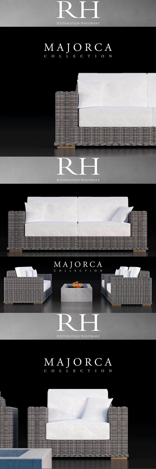 Restoration Hardware Majorca Sofa Collection 3D Model 2