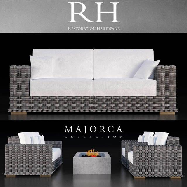 Restoration Hardware Majorca Sofa Collection 3D Model