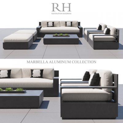 Restoration Hardware Marbella Aluminium Sofa 3D Model