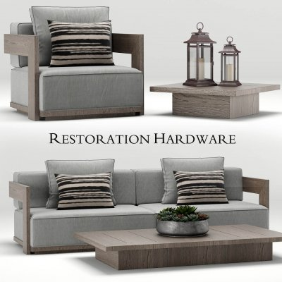 Restoration Hardware Milano Teak Sofa 3D model