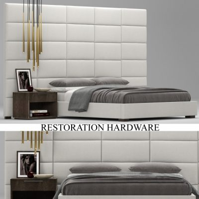Restoration Hardware Modern Rectangular Channel Extended Headboard Bed 3D Model
