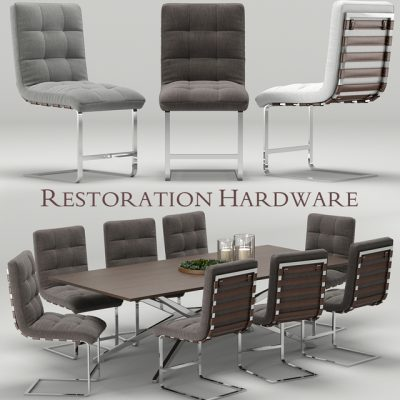 Restoration Hardware Modern Rossi-Spyder Table & Chair 3D Model