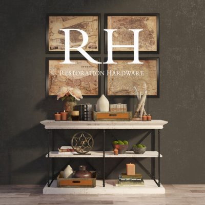Restoration Hardware Parisan Cornice Console And Decor 3D Model