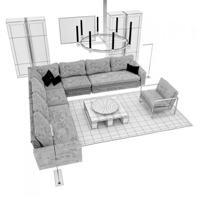 Restoration Hardware Sofa Set 3D Model 5